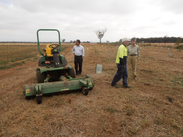 Discussing grass mowing at Pinkerton Link February 2012