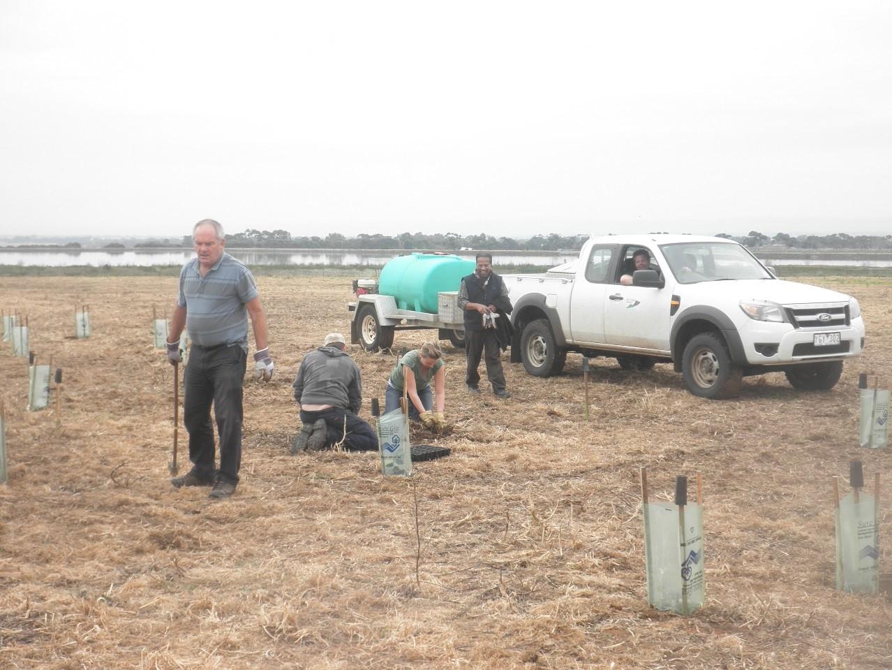 William Rajendram of Western Water planting with volunteers